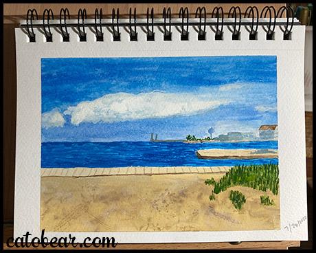 gouache painting water scene