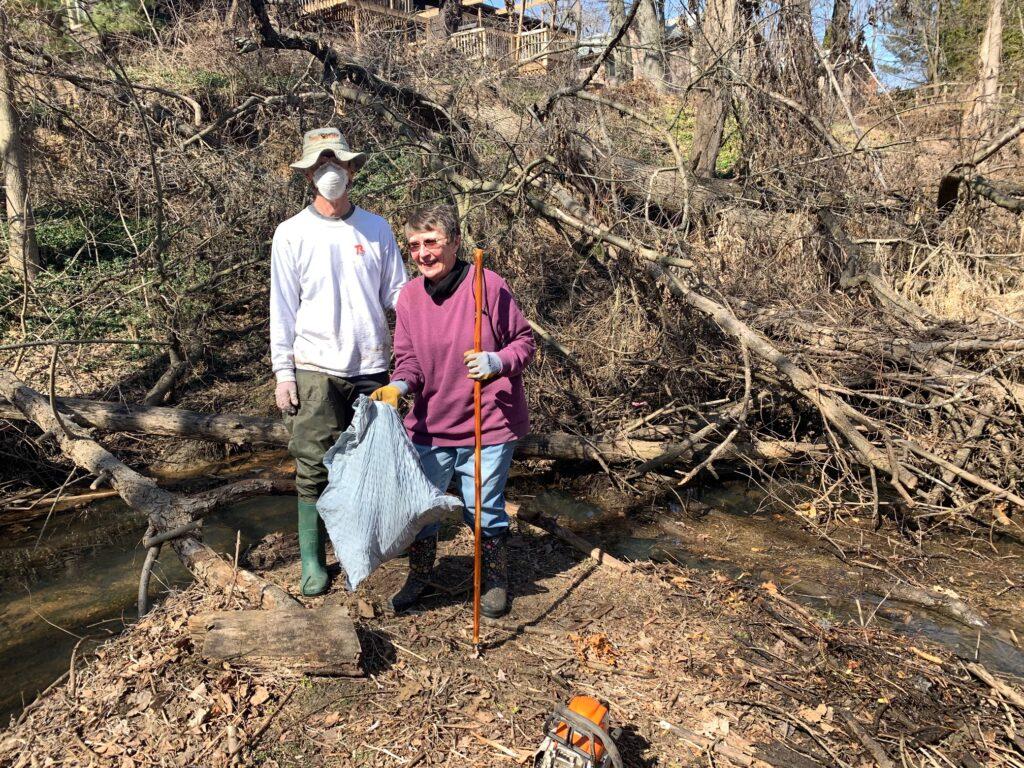 Mom and Bob at the creek