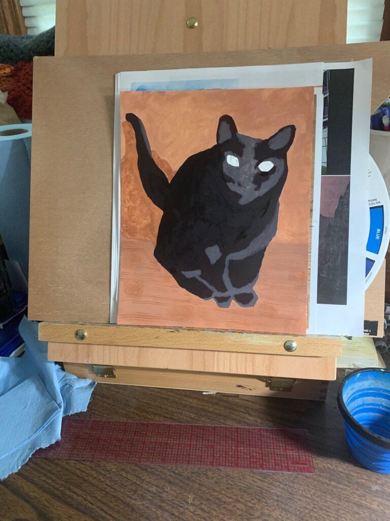 misc. summer updates - gouache cat painting