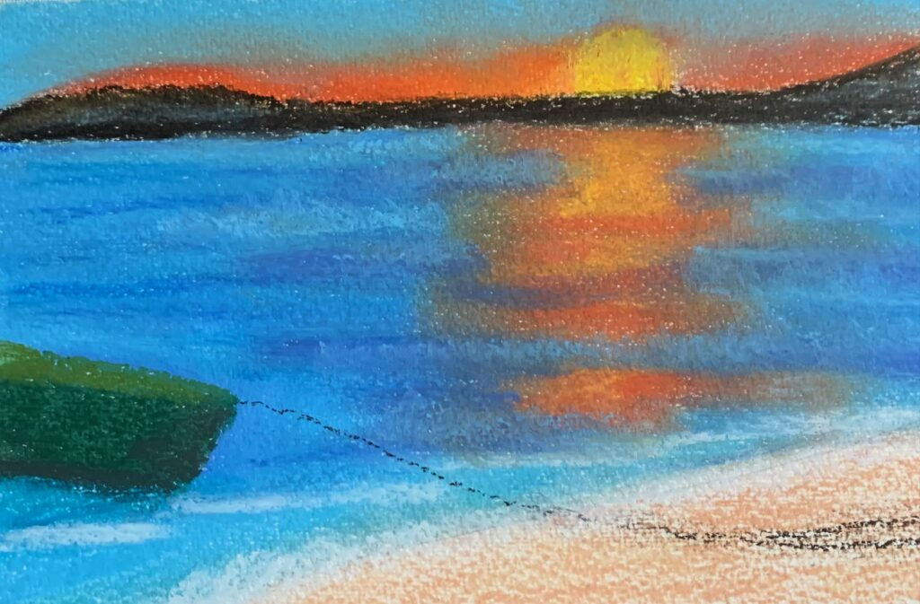one image several mediums - oil pastel